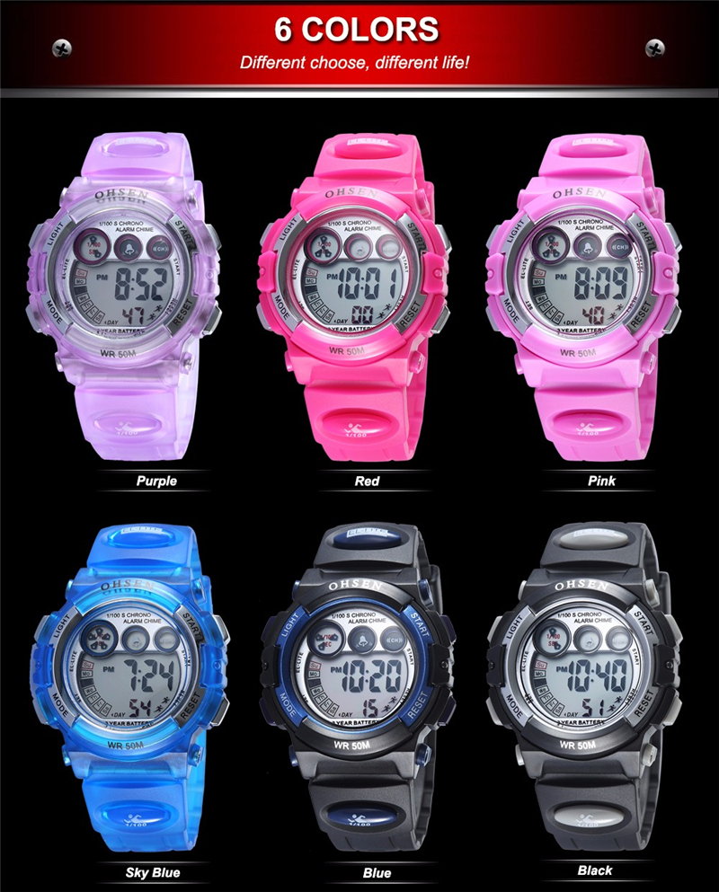 Fashion OHSEN Brand Sports Watches Children LED Digital Watch Kids Multifunctional Wristwatches Alarm Stopwatch Student Clock (37)