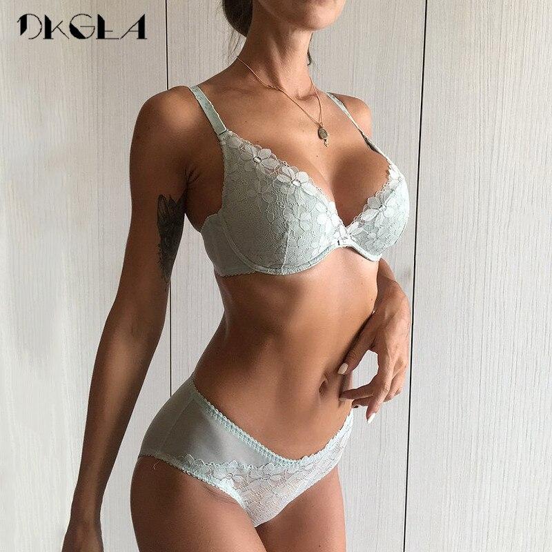 2019 White Lace Lingerie Sexy Bra Set Ultrathin Brassiere Embroidery Underwear Women Set Push Size Green Bra And Panties Sets