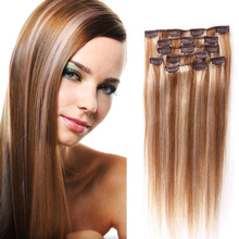 Piano Color #12/613 Brazilian Virgin Hair Clip In Hair Extensions 7PCS 120G 6A Full Head Clip In Human Hair Extensions Straight
