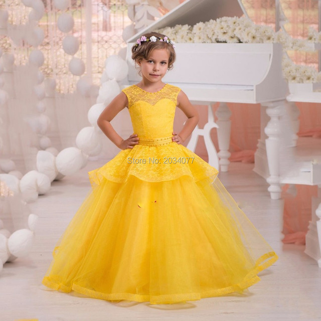 New Design Flower Girl Dresses Yellow Lace Little Girls Evening