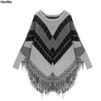 Autumn New Fashion Elegant Cloak Sweaters Tassel Plaid Pattern Oversized Bat Sleeved Poncho Women Knitted Sweaters