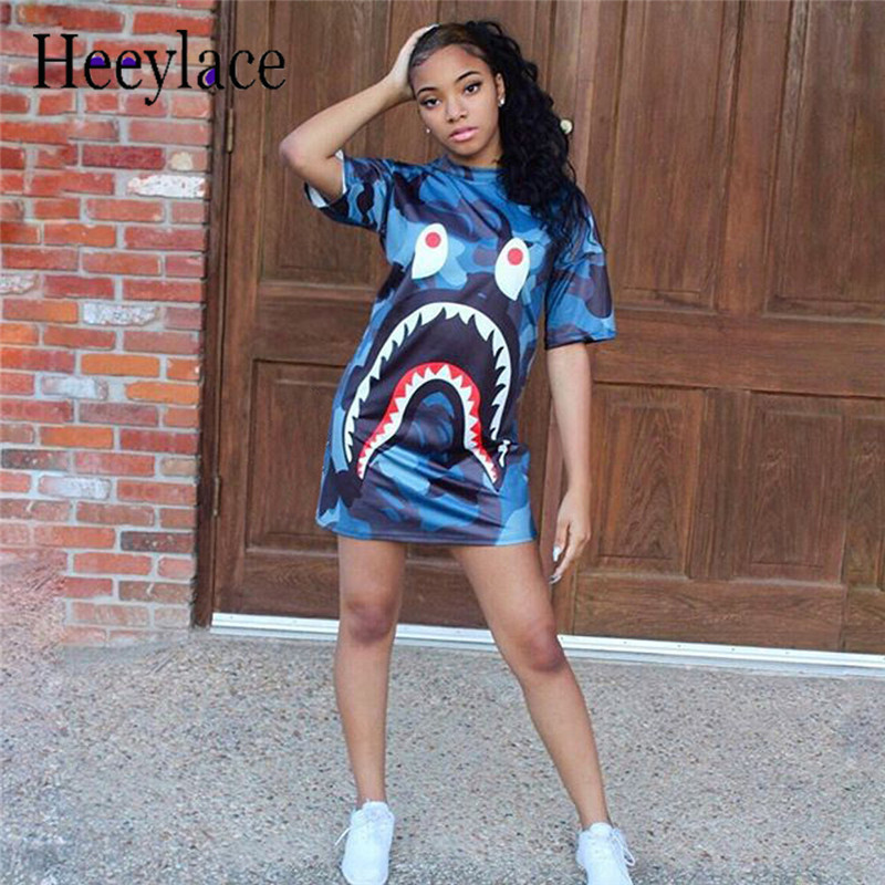 dc3acc7bd5c Shirt Dresses for Women Cartoon shark Print Dress 2018 Spring Summer Casual  Loose dresses Ladies short Sleeve Tunic Plus Size