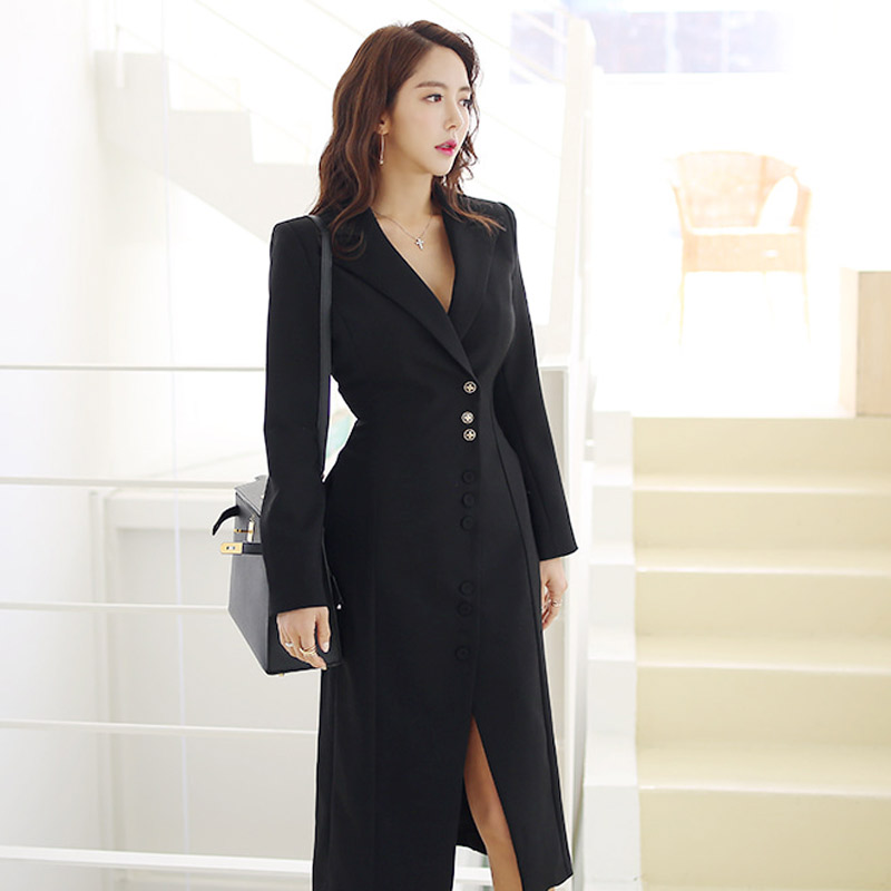 ee2537806271 New 2018 Autumn Ladies Suit Collar Black White Blazers Women Single breasted  Slim Long Blazers Dress Korean OL Outerwear Coats-in Blazers from Women's  ...