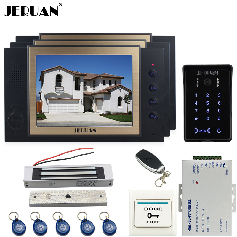 JERUAN Wired 8``video doorphone Recording intercom system kit CCTV system New RFID Touch Key password keypad Camera 8G SD Card jeruan wired 7 touch key video doorphone intercom system kit waterproof touch key password keypad camera 180kg magnetic lock