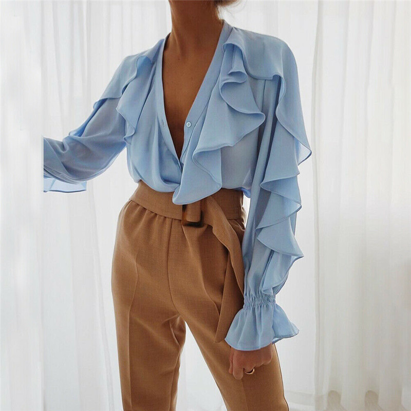 Women Ruffles Bell Sleeve Loose Top Blouse Sexy V-neck Chiffon Casual Office Plain Shirt Blouse Office Work Solid Color Shirt