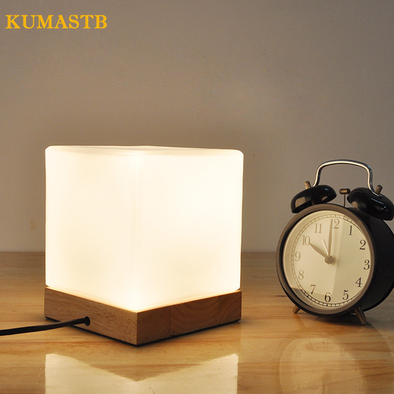Square LED Table Lamp for Bedroom Bedside Light Study Desk Lamp Living Room Table Light with Wood Base
