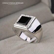For Man White Gold Color Square Black Onyx Rhinestones Setting Finger Ring Wholesale