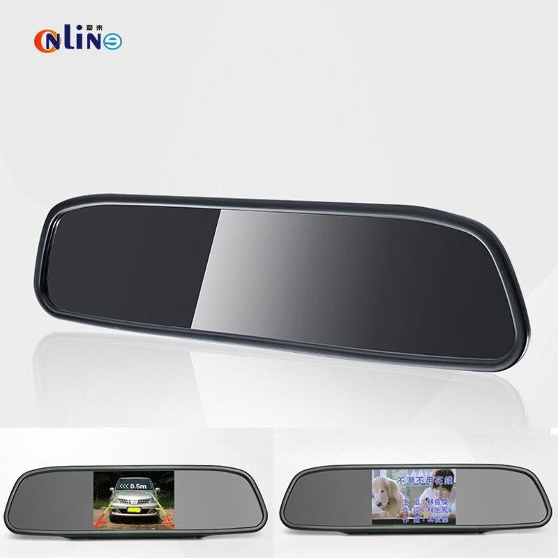 """4.3 """"TFT ЖК-Авто Парковка Заднего Вида 4.3 Дюймов Автомобиль Зеркало монитор С 2 видеовхода Для Заднего Вида Камера Парковки датчик"""