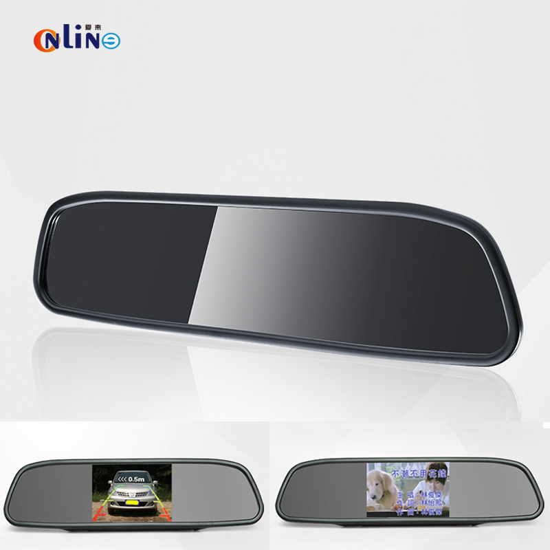 Online/ HD 480*240 Car Mirror Monitor 4.3 TFT LCD Mirror Car Parking Rear View Monitor 2 Video Input Connect Rear/ Front Camera