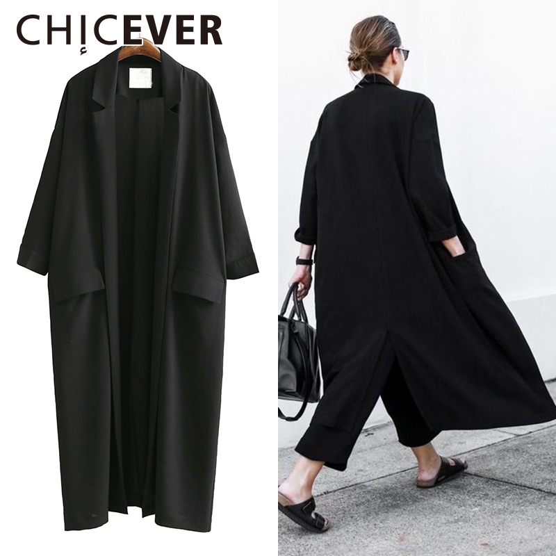 CHICEVER 2019 Summer Loose Women Coats Three Quarter Sleeve Plus Size Black Sunscreen Trench Coat For
