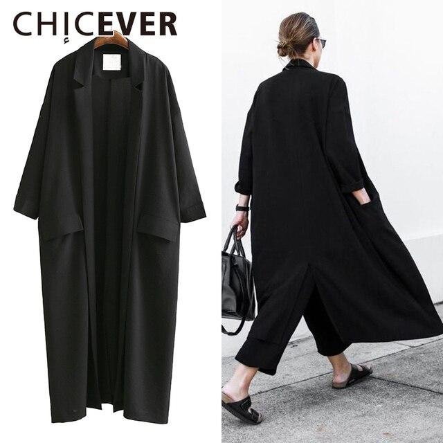 CHICEVER 2017 Verão Mulheres Soltas Casacos de Manga Três Quartos Plus Size Protetor Solar Preto Trench Coat Para As Mulheres roupas Coreano