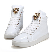 New Fashion High Top Casual Shoes For Men PU Leather Lace Up