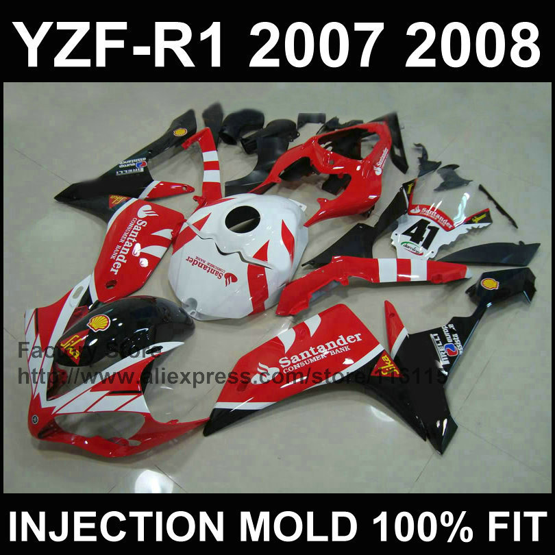Custom Chinese motorcycle injection ABS fairings for YAMAHA YZFR1 2007 2008 YZF R1 07 08 red santander fairing parts motorcycle fairings fit for yamaha yzf r1 yzf 1000 yzf r1000 yzf1000 2007 2008 07 08 abs injection fairing bodywork kit a0802
