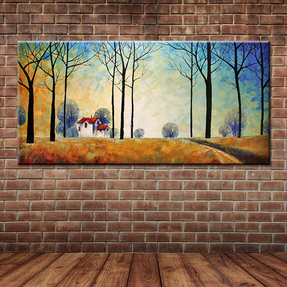 Modern abstract landscape country side tree oil painting canvas modern abstract landscape country side tree oil painting canvas art large fabric wall mural decoration for bedroomno frame in painting calligraphy from amipublicfo Images