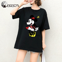Summer Clothes Women Minnie Mickey Mouse Print Tops Tee Short Sleeve Black White Fashion Loose Cartoon Friends T Shirts