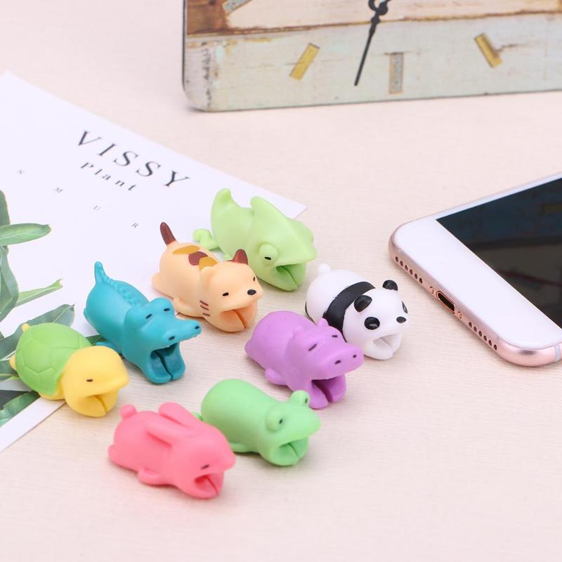 1Pcs Protector Cable Animal Bites For IPhone Cord Cable Organizer Cartoon Animal Cable Protector Phone Holder Accessories