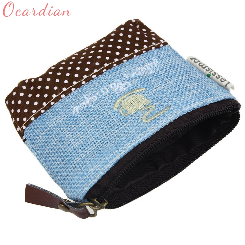 Ocardian Hot Sale Small Canvas Purse Zip Wallet Lady Coin Case Bag Handbag Key Holder Coin Purses wholesale drop shipping ## hot sale women fashion leather wallet zipper clutch purse lady long handbag bag coin purses wholesale de13