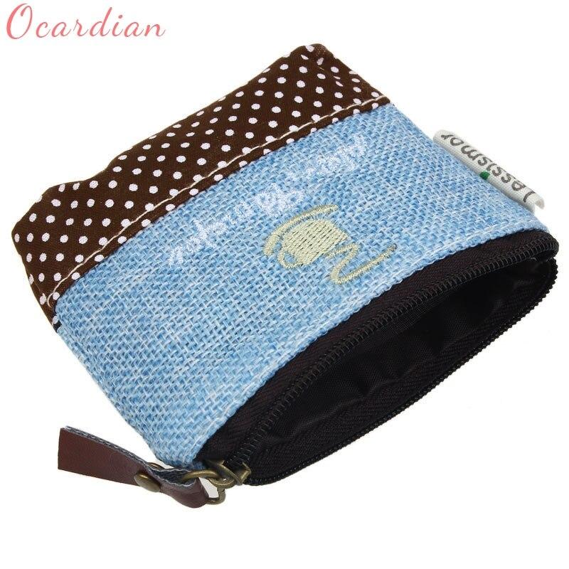 Ocardian Hot Sale Small Canvas Purse Zip Wallet Lady Coin Case Bag Handbag Key Holder Coin Purses wholesale drop shipping ##
