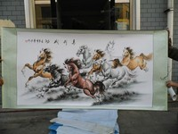 GOOD TOP foreign business gift Home SHOP WALL Decorative art Success 8 running horses FENG SHUI ART chinese silk painting
