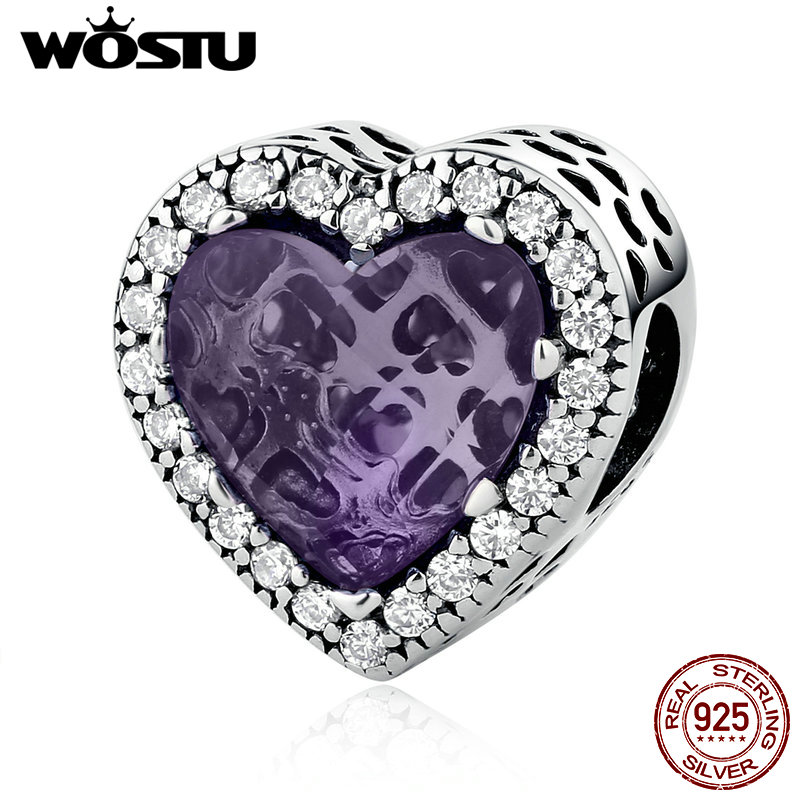 71f6178eb High Quality 100% 925 Sterling Silver Purple Radiant Heart Charm Beads Fit  Original WST Bracelet Bangle Fine Jewelry