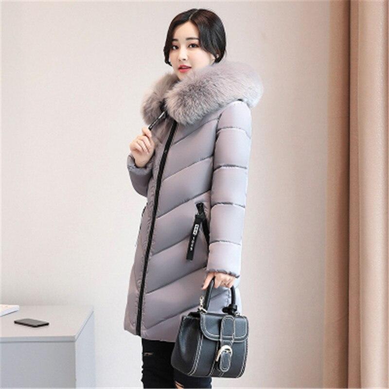 Plus size 6XL Women Winter Cotton Jacket Coats Thick Warm Parkas Fashion Hooded fur collar Slim Jacket 100KG can wear