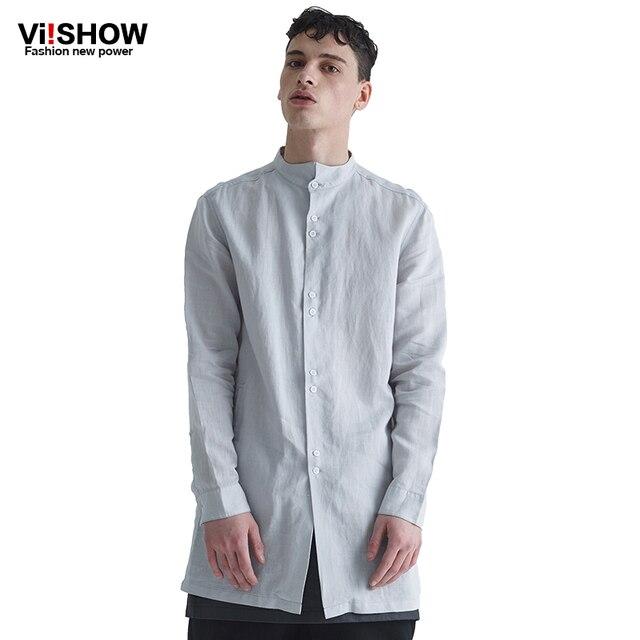 65664a9909c VIISHOW Plus Size Cotton Long Sleeve Mens Dress Shirt Summer Casual Plus Long  Shirt Sexy Formal