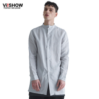 VIISHOW Plus Size Cotton Long Sleeve Mens Dress Shirt Summer Casual Plus Long Shirt Sexy Formal