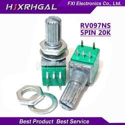 5 шт. RV097NS 20 к одноканальный потенциометр B20K с переключателем аудио 5-контактный вал 15 мм усилитель уплотнительный потенциометр