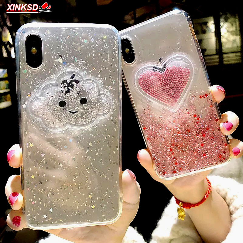 Liquid Heart Glitter Powder Smile Face Clouds Case For iPhone 6 S 6s 7 8 Plus X XR XS Max Ice Cream TPU Dynamic Beads Back Cover