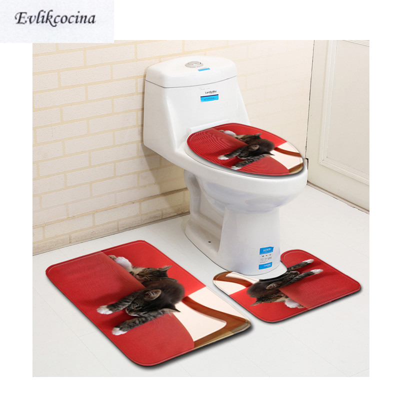 Bath Mats Free Shipping 3pcs Bored Cats On Sofa Banyo Bathroom Carpet Toilet Bath Mats Set Non Slip Pad Tapis Salle De Bain Alfombra Bano Fashionable And Attractive Packages
