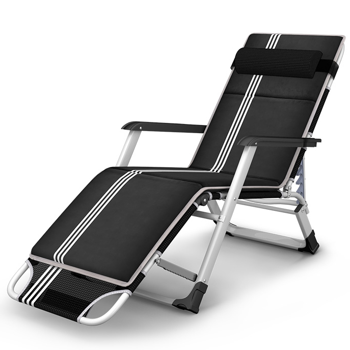 US $148.19 22% OFF|Outdoor Folding Reclining Chair SittingLaying Deck Chair Sun Lounger Beach Chair Aluminium Garden Nap Couch With Cotton