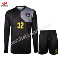 black long sleeve soccer uniform top quality wholesale soccer uniform for men