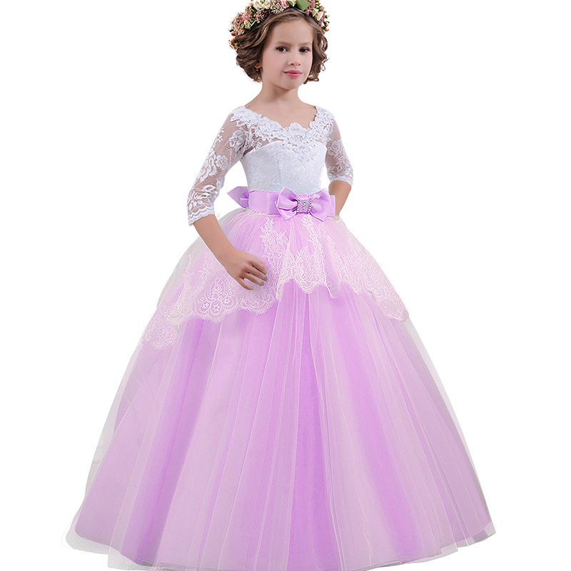 Flower Girls Royal Tulle Long Ball Gown Wedding Princess Dress Girl Lace Formal Dress Kids Children Birthday Party Clothes BW205Flower Girls Royal Tulle Long Ball Gown Wedding Princess Dress Girl Lace Formal Dress Kids Children Birthday Party Clothes BW205