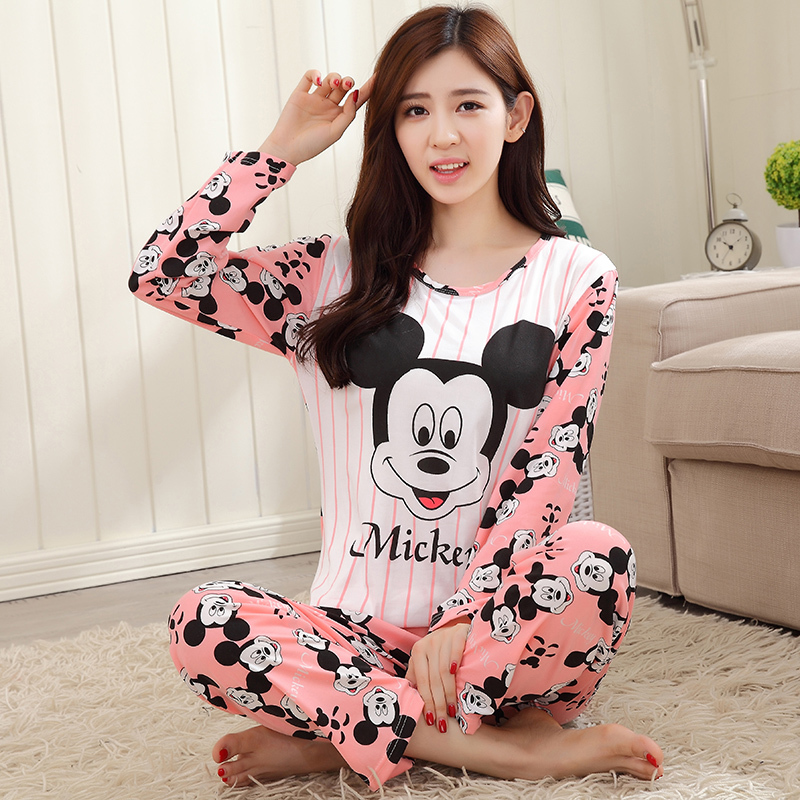 74720e2b1b AUTUMN 2016 Pyjamas women Clothing Long Sleeve Tops pants Set ladies  Pyjamas Sets Night Suit Sleepwear carton women pajamas sets-in Pajama Sets  from ...