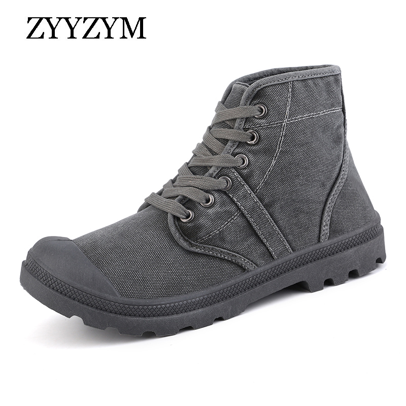 ZYYZYM Men High Canvas Shoes Spring Autumn Lace-up Style Denim Retro Fashion Trend Men Shoes eyelet lace up detail denim jacket