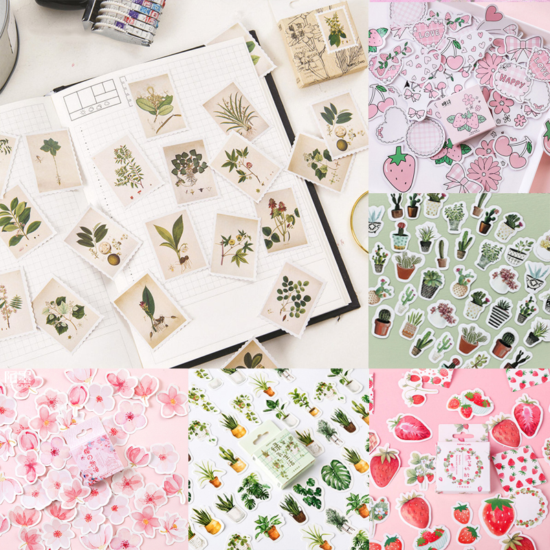 45pcs/box Vintage Plants Stamp Stickers Strawberry Flowers Stickers Stationery Paper Stickers For Decoration Diary Scrapbooking
