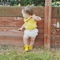 2016 летние дети рукавов Новорожденных девочек устанавливает пуловер + брюки 2 шт. детская Одежда Костюмы infantil хлопка новорожденной девочки одежда набор