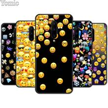 Emoticon Emoji Black Case for Oneplus 7 7 Pro 6 6T 5T Silicone Phone Case for Oneplus 7 7Pro Soft TPU Cover Shell
