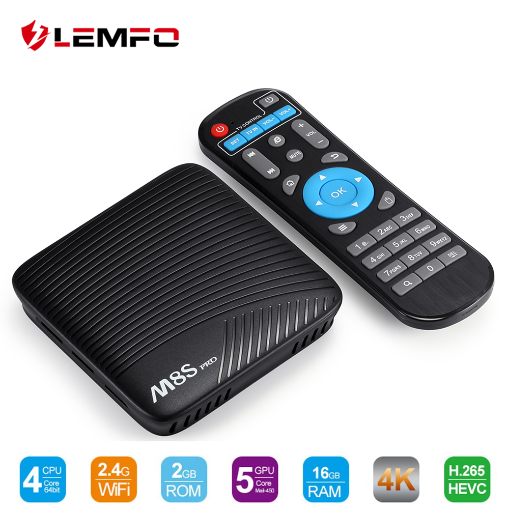 LEMFO M8S Pro Intelligent Android TV Box 7.1 Système D'exploitation 4 K Wifi 3 GB + 16 GB Soutient Miracast Airplay DLNA Set Top Box Pour Xiaomi