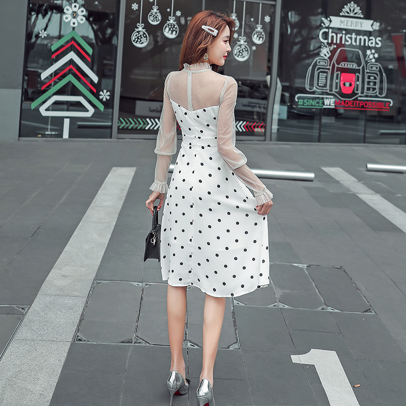 JIBAIYI Summer Transparent Mesh Midi Sexy Dress Women Petal Sleeve Elegant Black Dot Patchwork Sundress Ruffle Collar Vestidos