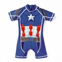 UPF 50 UV Protection Baby Beachwear Superhero Spiderman Costume Boys One Piece Swimsuit Kids Captain America Children's Swimwear