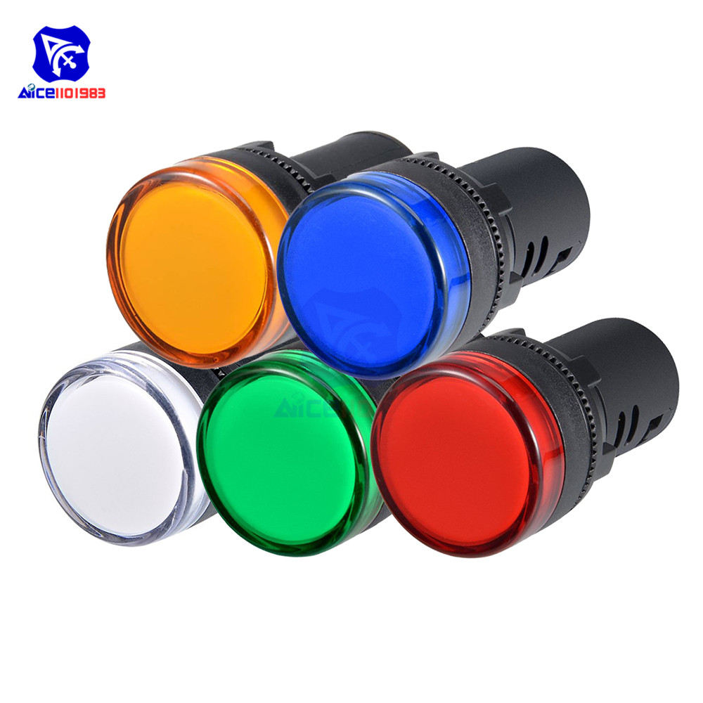 Светодиодный сигнальный светильник-пилот, синий, зеленый, красный, белый, желтый светодиодный индикатор, 220 В перем. Тока, монтажная панель 7/8...