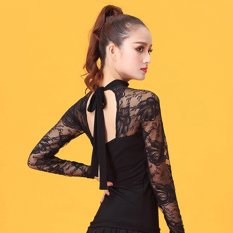 Fashion Ballroom Costume Lace Long-sleeve Sexy Latin Dance Top For Women/female/lady Dancers ,performance Wear YE0206