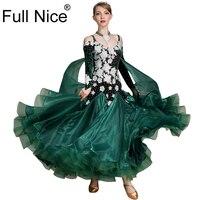 Роскошный цветок Велор бальных танцев платье длиной широкий подол современный Танцевальный костюм Вальс носить фламенко Румба Самба