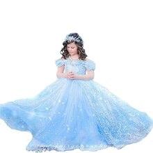 Рождество платье для девочки шифон Эльза Принцесса Золушка Платье 3-10Y Летние Новый Год девушки одеваются девушка одежда