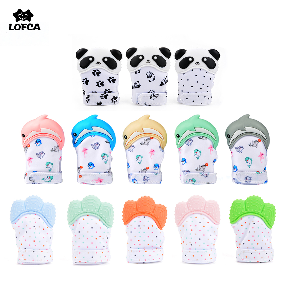 LOFCA 1PC Dolphin Panda Baby Teething Glove Pacifier Glove Teether  Mitten Wrapper Sound Teething Chewable Bead Newborn Toddler(China)