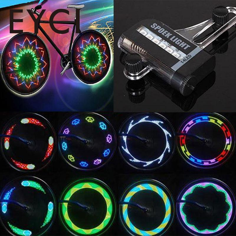 EYCI 14 RGB Colorful LEDs Bike Bicycle Accessories Bycicle Tire Light Mtb Mountain Bike LED Wheel Spoke Light 30 Patterns 40 pattern led bike spoke light front wheel mount