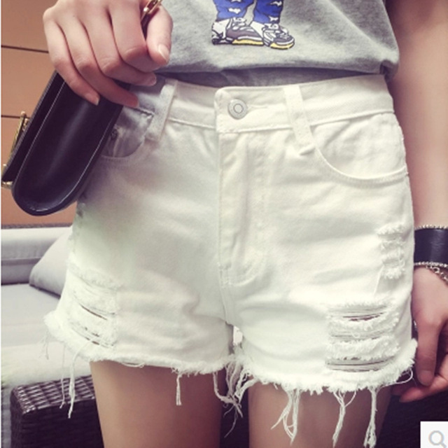 1b5bfcd5d4a Plus Size 26-34 Womens Denim Shorts White Blue Hot Shorts Distressed Jeans  Ripped Capris Raw Edge Sexy Loose Shorts 330