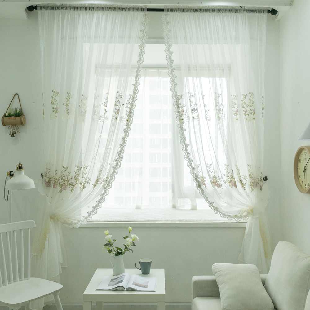 Customized Tulle Curtains European Embroidery Voile Curtain with Beads Lace Edge White Window Curtain for Living Room Bedroom