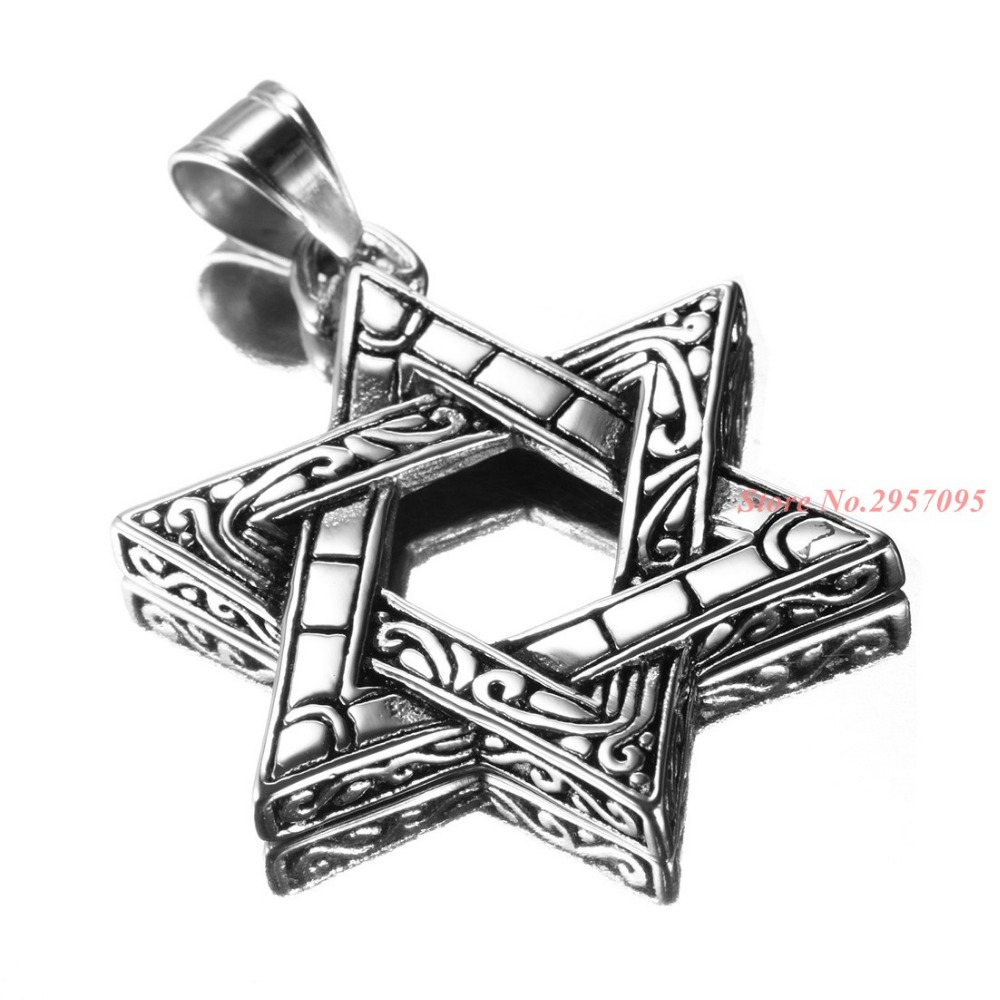 Men's Silver Gold 316L Stainless Steel Large The Star Of David Pendant Necklace 3mm 24'' Curb Chain HIgh Quality Biker Jewelry